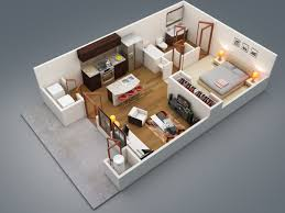 """One """" """" Bedroom Apartment House Plans   Architecture  amp  Design    Bedroom Apartment   Patio"""