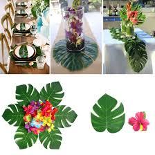 Shop 30Pcs <b>Artificial</b> Monstera <b>Leaf</b> + <b>24Pcs</b> Hibiscus Flower Party ...