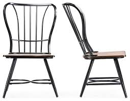 wood metal dining chairs set