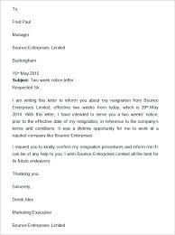 two weeks notice letter   documents in word two weeks notice letter template