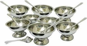 Sukot 8PCs <b>Stainless Steel Ice Cream</b> Bowl Cup + 8 PCs Steel ...