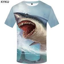<b>KYKU Shark</b> T Shirt Men Sea Tshirt Punk Rock Clothes 3d T shirt ...