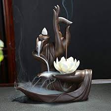 <b>Lotus Flower</b>/Monk <b>Backflow Incense</b> Burner, Large Handmade ...