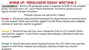 warm up  persuasive essay writing  assignment  write a      warm up  persuasive essay writing  assignment  write a     paragraph essay