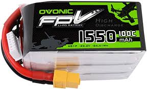 <b>OVONIC</b> FPV Lipo Battery 1550mAh <b>22.2V</b> 6S <b>100C</b>: Amazon.co.uk ...