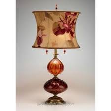 mariola table lamp kinzig design burgundy salmon blown glass silk shade artistic artisan designer table lamps artisan blown glass lamps