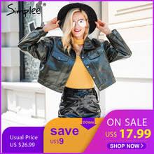 Simplee Fashion <b>autumn</b> women <b>PU leather</b> jacket coat female ...