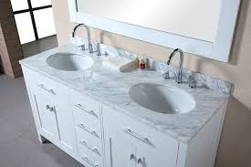 white double sink bathroom black window edge near antique white double sink bathroom vanities under arched cranes closed simple mirror on pastel wall and nice floortile pattern bit