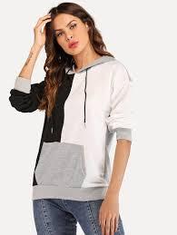 Drawstring <b>Hoodie</b> Colorblock Sweatshirt (с изображениями ...