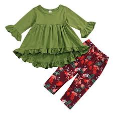 Baby Girl Clothes 2PCS Ruffle Outfits Short Sleeve ... - Amazon.com