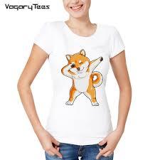 <b>Shiba Inu T shirt</b> For Women short sleeve cute dog Dab Dance T ...