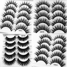 <b>5 pairs</b> 3D mink lashes false eyelashes natural makeup eyelash ...