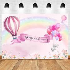 <b>Pink Hot Air Balloon</b> Backdrop Ballon Rainbown Baby Shower Party ...