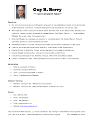 real estate resume samples resume format  com real estate resume sample experience resumes top