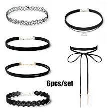 6pcs/set Sexy <b>Multi</b>-<b>layer</b> Hollow Lace Flower <b>Choker Necklace</b> ...