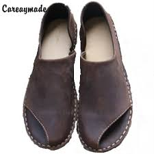 Careaymade pure handmade All cowhide <b>leather</b> shoes the retro art ...