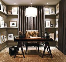 classic dark varnished wooden writing desk decor with small white gallery photos of fabulous decorating office astonishing cool home office decorating