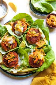 Curried <b>Salmon Sliders</b> with Lemon Yogurt | Dishing Out Health