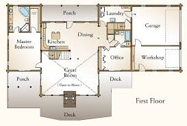 The Stonington Log Home Floor Plan   Bedroom Log Home Plan    Stonington Log Home Floor Plan First Floor
