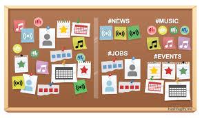 bulletin board labeled sections bulletin board