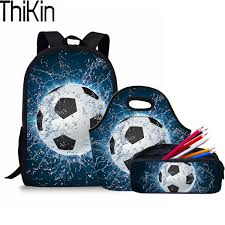 <b>THIKIN 3Pcs Set</b> Children Primary School Bags for Kids 3D Foodball ...