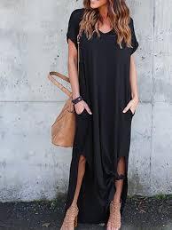 Black Casual Shift V-neck Short Sleeve Polyester <b>Solid Color</b> ...