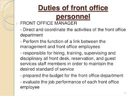 introduction to front office       duties