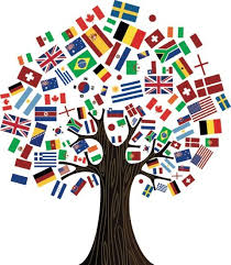 International flags as leaves of tree
