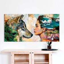 <b>HDARTISAN Wall Art Canvas</b> Animal Figure Painting For Home ...