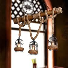 american country rope cage droplights vintage bamboo pendant lights fixture retro home indoor lighting cafes pub lamps l100cm bamboo lighting fixtures