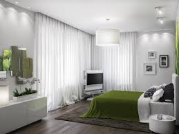 awesome home decorating modern bedroom design ideas featuring cool green fabric bedcover and cute black white bedroom furniture corner units