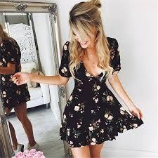 <b>Women</b> Mini Boho Floral Dress <b>Summer Beach Short</b> Sleeve V neck ...