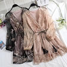 HISUMA spring autumn <b>new women</b> Star sequins <b>gauze</b> flare sleeve ...