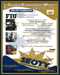 federal work study program fws one stop enrollment services fiu 2010 2011 student employee week sew and student employee of the year seoty award poster
