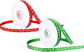 2 Rolls Christmas Ribbons, <b>1cm</b> 50 Yards Gift Wrap Ribbons <b>Merry</b> ...