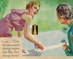 the midvale cottage post vintage ads cleaning art deco style i marvel at how well dressed the homemaker is in this ad just to clean the tub a little fancier than what i wear when i clean the bathroom lol
