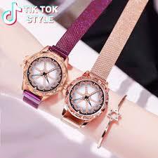 <b>Best Selling Women</b> Mesh Magnet <b>Buckle</b> Lucky Flower Watch ...