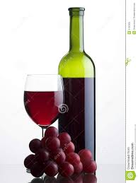 bottle and glass of red wine with grapes bottle red wine