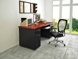 contemporary home office design with black red table top and large window for natural light black contemporary home office