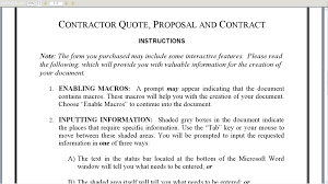 contractor quote proposal and contract contractor quote proposal and contract
