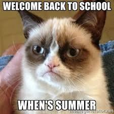 welcome back to school When's summer - Grumpy Cat | Meme Generator via Relatably.com