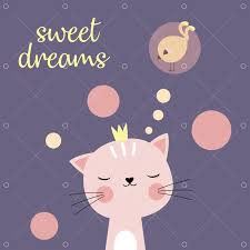<b>Cute cartoon cat</b> and inscription sweet dreams, greeting card with ...