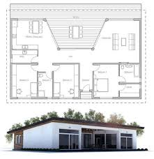 Small house plan   large covered terrace and full wall height    Small house plan   large covered terrace and full wall height windows toward terrace  three