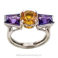 1930s Art Deco Amethyst Sapphire Platinum <b>ring</b>. Vibrant colors ...
