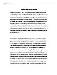 example of critical response essay  how to write a critical  macbeth critical response essay international baccalaureate