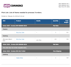 woocommerce print invoices packing lists woocommerce docs sample pick list