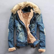 <b>New Arrival Fashion</b> Mens Winter Jeans Jacket with Fur Collar ...