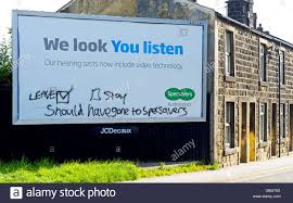 specsavers advert stock photos specsavers advert stock images graffiti on specsavers advertising billboard showing referendum remorse england uk stock image
