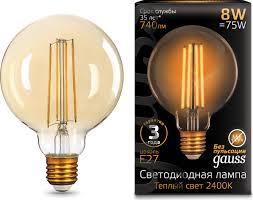 <b>Лампочка Gauss</b> Black <b>Filament</b> LED, G95, E27, 8W. <b>105802008</b>