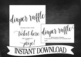 diaper raffle ticket diaper raffle baby shower invitation insert instant classic black white fancy typography dyi printable neutral baby shower